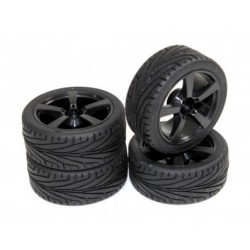 Set roti automodel asfalt 5 spite negre 1:10 (4 buc)