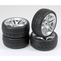 Set roti automodel asfalt 10 spite negre 1:10 (4 buc)