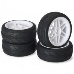 Set roti automodel asfalt 6 spite albe 1:10 (4 buc)